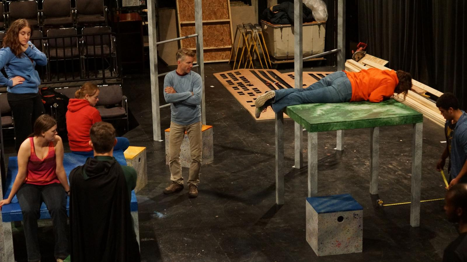 Ohio State graduate students rehearse their production about a young girl with autism.