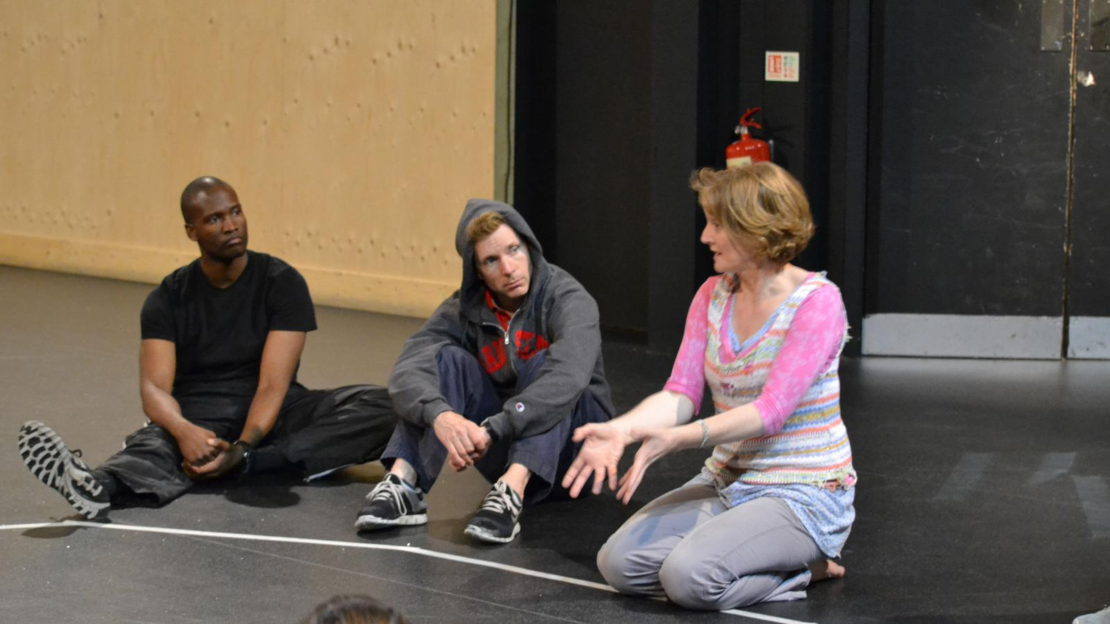 Two graduate students train with a member of the RSC in Stratford-upon-Avon.