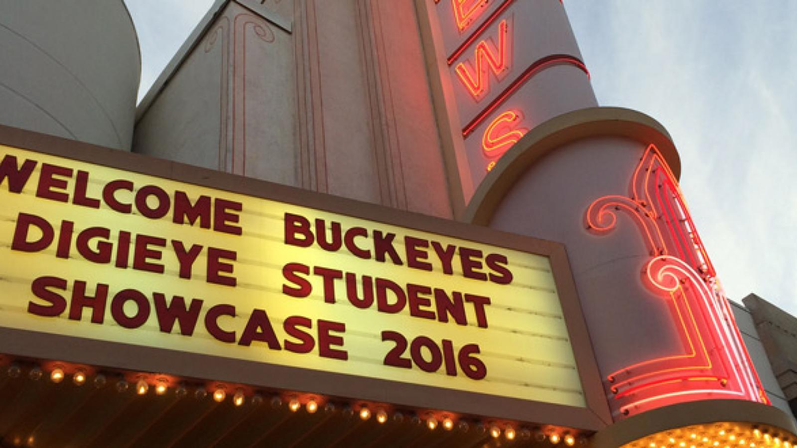 Theatre banner about the Digieye Student Showcase 2016.