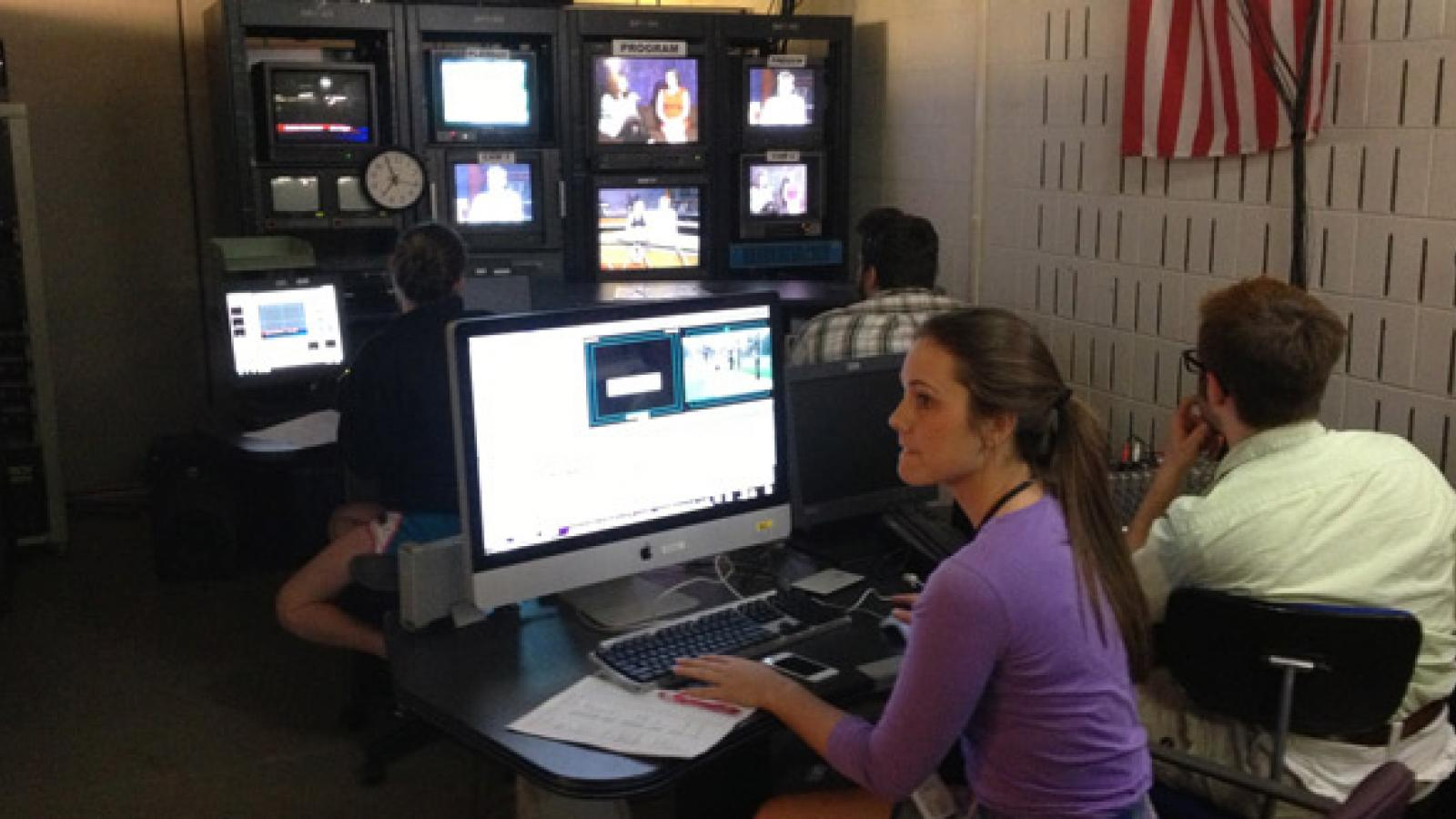 Students learn broadcasting software.